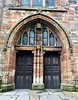 St. Michael's Church, front door.<br /> Notice the statue is missing, destroyed as idolatrous when Protestants took over the formerly Catholic church. <br /> Linlinthgow, Scotland