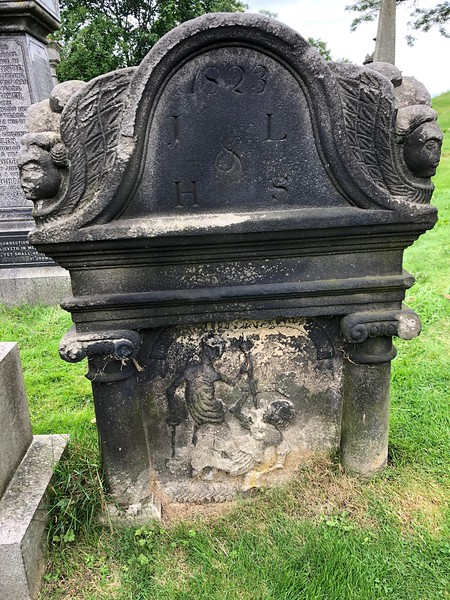 Grave robber depicted, stealing a corpse from this grave<br /> Old Town Cemetery<br /> Stirling, Scotland