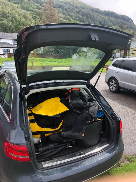 Jim's Audi packed and ready to depart.<br /> Holly Tree Hotel, Kentallen, Loch Linnhe, Scotland