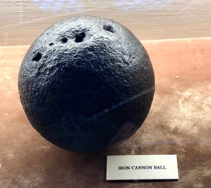 Iron cannon ball<br /> Linlithgow Palace, Linlithgow, Scotland.