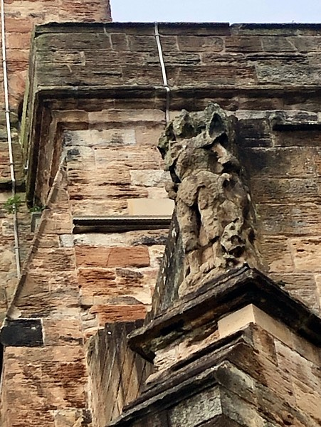 Only stature remaining (removal would have meant destruction of the walls behind).<br /> St. Michael's Church<br /> Linlinthgow, Scotland