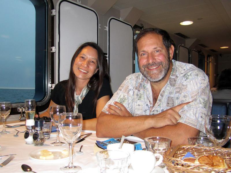 Lilian & Jeff, awaiting dinner. Plancius dining room, VIP window seating.