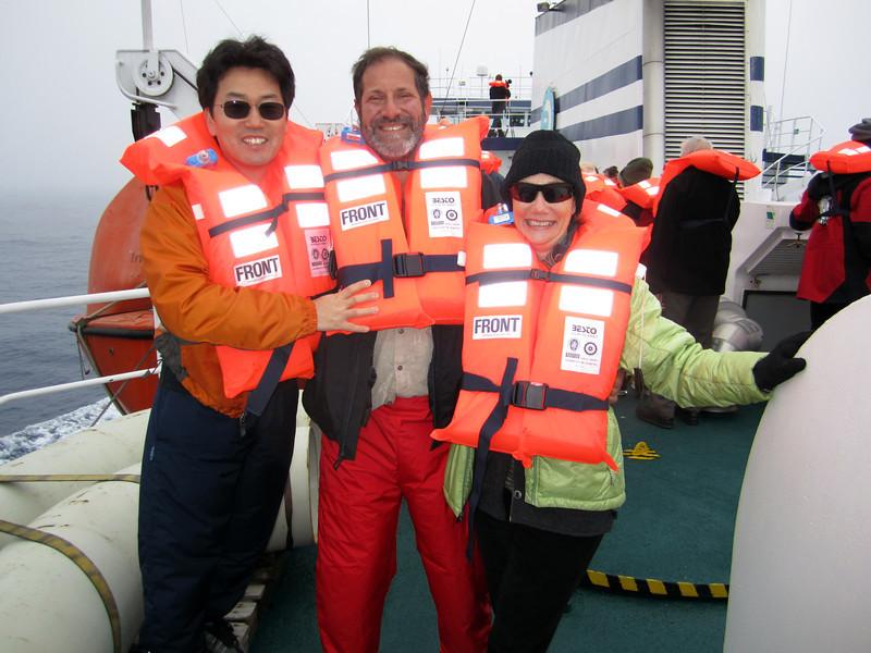 Emergency drill aboard the Plancius.<br /> East Falkland Island.