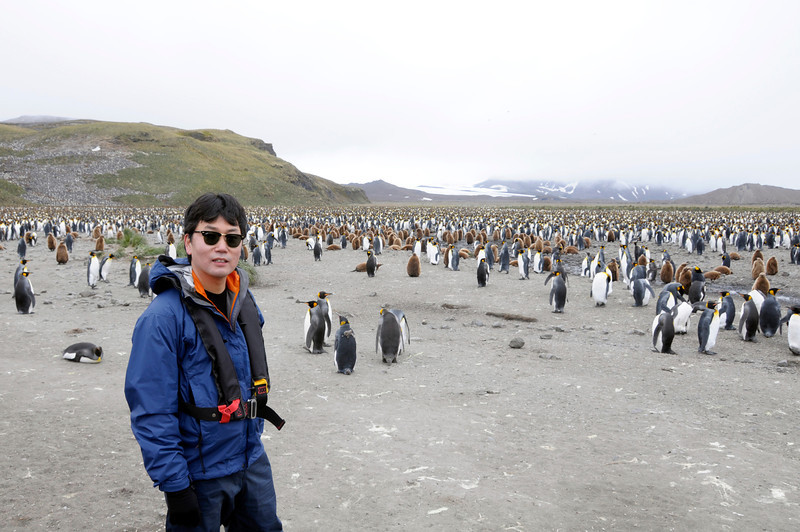 Kevin with thousands and thousands of King Penguins.<br /> Salisbury Plain, South Georgia Island<br /> Photo by Tim B.