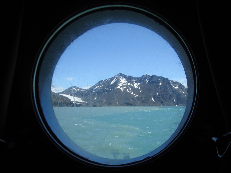 View outside of South Georgia Island coast, from Plancius cabin 309 window.