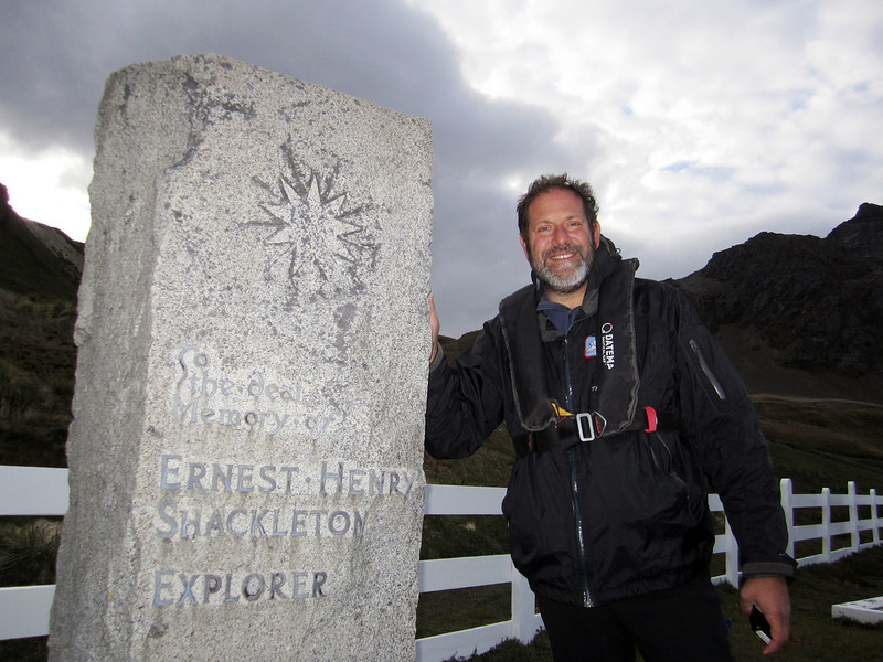 Jeff pays his respects to Ernest Shackleton.<br /> Grytviken, South Georgia Island