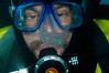 H. sapien, Jeff Bozanic looking at comb jelly (?)<br /> East Shore at Godthul, South Georgia Island