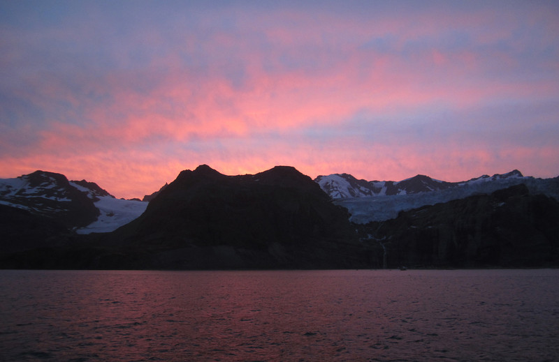 Sunset over South Georgia Island, as we head for Stanley, East Falkland Island.