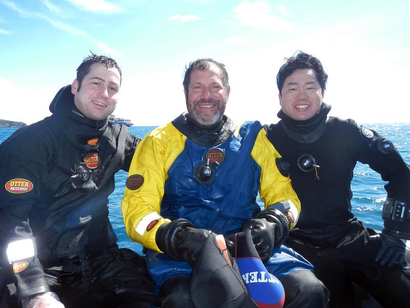 L-R: Diving Trio - Tim Beard, Jeff Bozanic & Kevin Lee<br /> South Georgia Island<br /> Photo by Kelvin M.