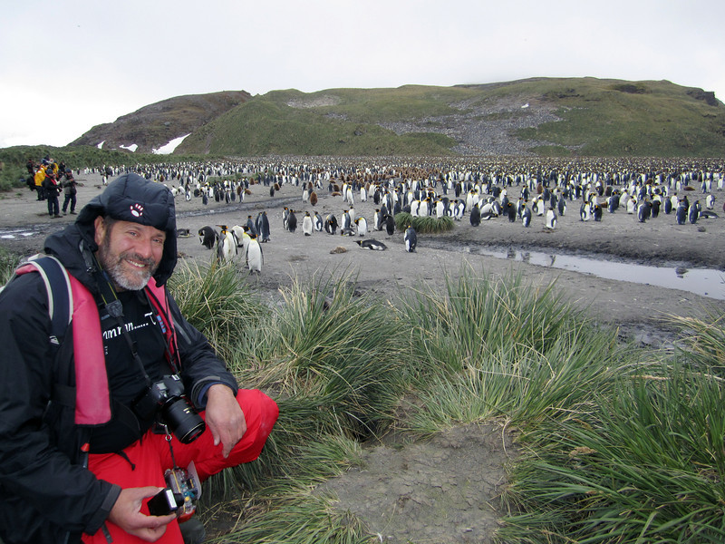 Jeff with King Penguins<br /> Salisbury Plain, South Georgia Island