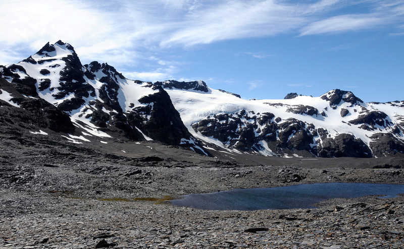 Small mountain lake on Shackleton's traverse route from Fortuna Bay to Stromness.<br /> South Georgia Island.