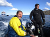 Jeff & Kelvin, on dive zodiac.<br /> South Georgia Island