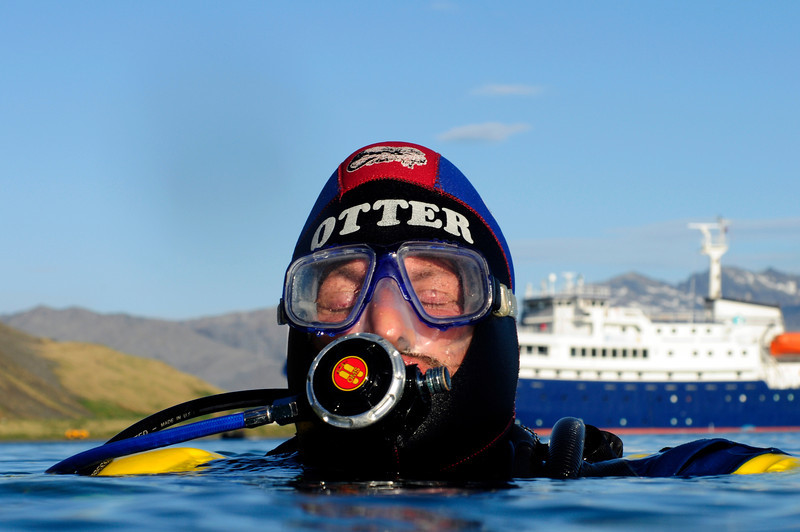 Jeff Bozanic, meditates before submerging<br /> Grytviken Bay, South Georgia Island