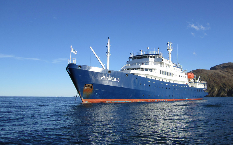 "Our mother ship ""Plancius"", operated by Oceanwide Expeditions.<br /> Ocean Harbor, South Georgia Island"