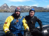 Jeff & Kevin on dive zodiac.<br /> South Georgia Island<br /> Photo by Tim B.