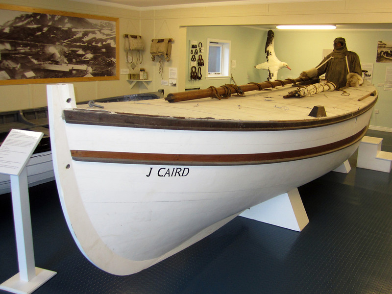 Replica of J Caird, boat which Shackleton used to reach Elephant Island, then South Georgia Island.<br /> Grytviken, South Georgia Island.