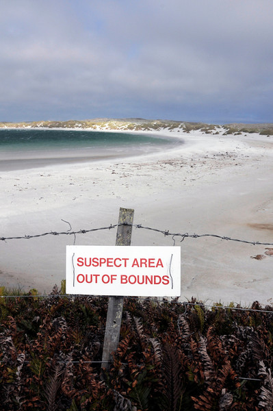 Beware of land mines.<br /> East Falkand Island.