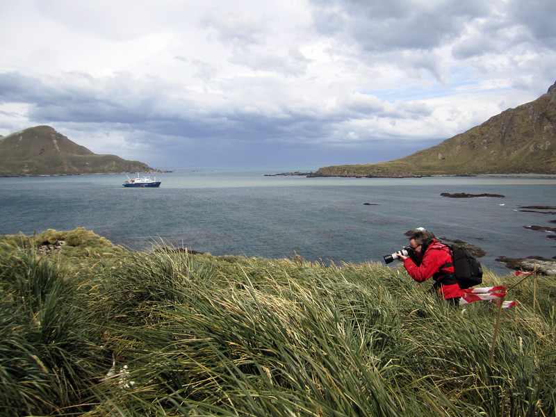 Ship's doctor, Aldwin den Blaauwen, communing with Macaronis at Cooper's Bay, South Georgia Island