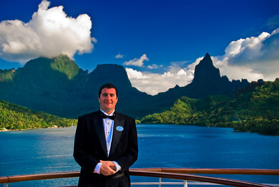 The mark of service. On board the Crystal Serenity at Moorea.