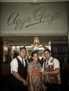 The wonderful staff at Aggie Greys in Apia.