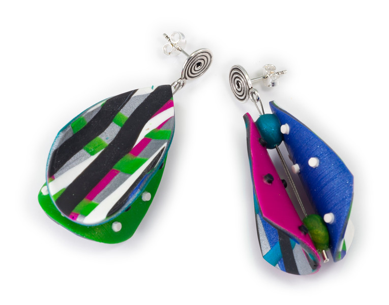 #C8 Wings Teardrop Blue Teal Mix Earrings. $145. Polymer with sterling silver posts. Call Smith Galleries at 1.800.272.3870 to order.