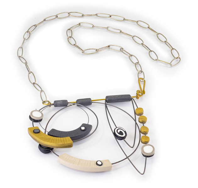 #A2 Overlay Necklace Neutrals. $440. Polymer and stainless steel. Call Smith Galleries at 1.800.272.3870 to order.