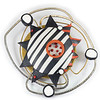 #C3 Starburst Brooche/Pendant - Black Orange. $365. Polymer, brass and stainless steel with pin and bail (for necklace) on back. Call Smith Galleries at 1.800.272.3870 to order.