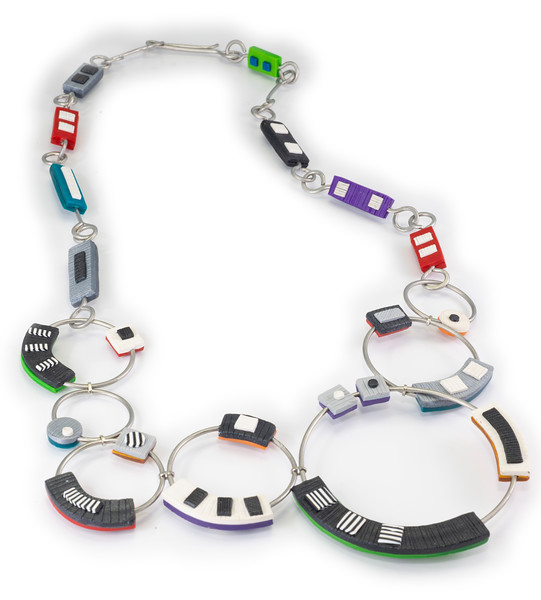 #A3B Circle Dance Necklace (Reversable). $650. Polymer and stainless steel. Call Smith Galleries at 1.800.272.3870 to order.