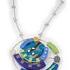 #B9 Blue Circle Pendant/Brooch. $410. Polymer and stainless steel. Call Smith Galleries at 1.800.272.3870 to order.