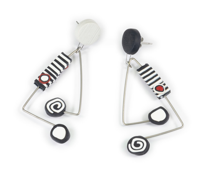 #C11 Dot Dot Red Black Earrings. $165. Polymer and stainless steel with sterling silver posts. Call Smith Galleries at 1.800.272.3870 to order.