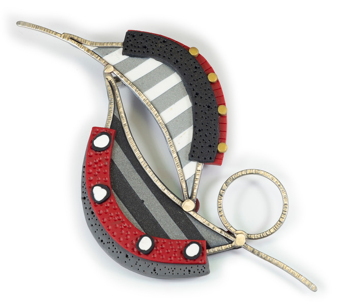 #C2 Leaves Brooch/Pendant - Red Black. $365. Polymer and stainless steel with pin and bail (for necklace) on back. Call Smith Galleries at 1.800.272.3870 to order.