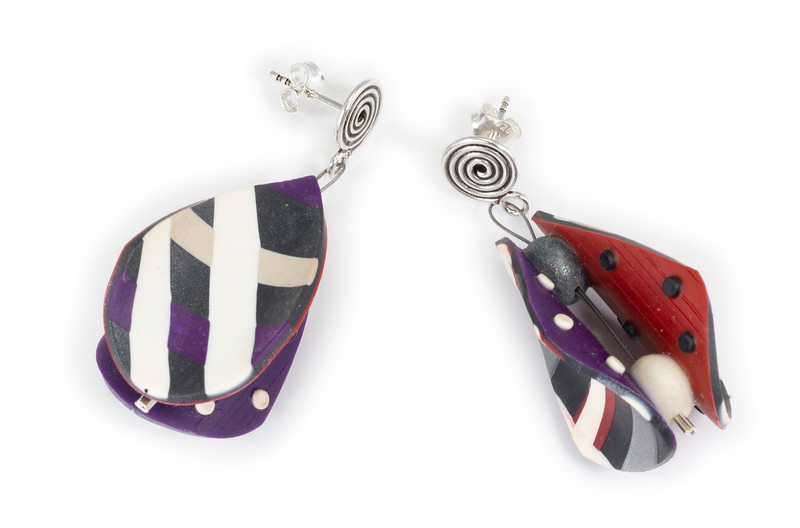 #C7 Wings Teardrop Earrings in Red Black Purple. $145. Polymer with sterling silver posts. Call Smith Galleries at 1.800.272.3870 to order.