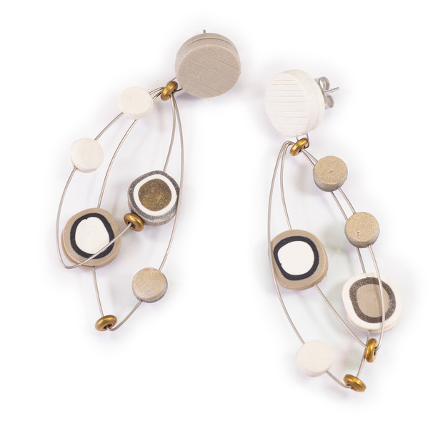 #A1 Dot Neutral Earrings. $165. Polymer and stainless steel with sterling silver posts. Call Smith Galleries at 1.800.272.3870 to order.