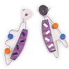 #C10 Special Shapes Grey Purple Earrings. $165. Polymer and stainless steel with sterling silver posts. Call Smith Galleries at 1.800.272.3870 to order.