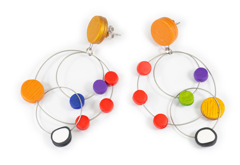 #C9 Chandelier Multi Earrings. $165. Polymer and stainless steel with sterling silver posts. Call Smith Galleries at 1.800.272.3870 to order.