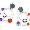 #B4 Circle Circle Red Purple Earrings. $165. Polymer and stainless steel with sterling silver posts. Call Smith Galleries at 1.800.272.3870 to order.