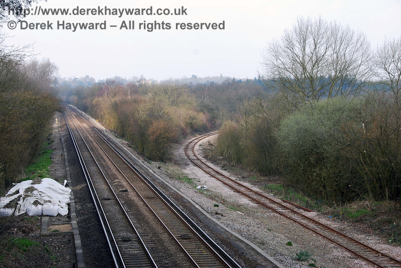 Copyhold Junction, looking north, with the goods line from Ardingly on the right.