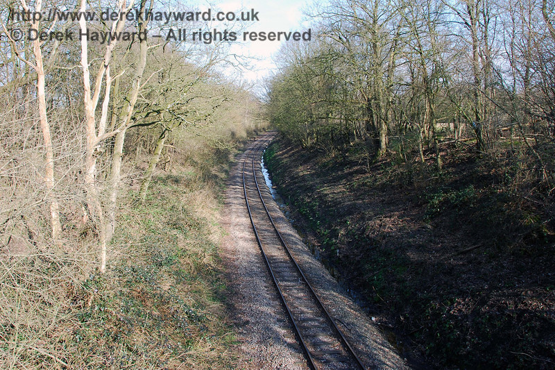 A goods line runs west from the Ardingly Station site. This view looks east towards Ardingly station from Rivers Farm.