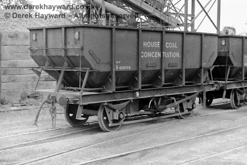 """If you had visited the Ardingly plant on 09.08.1970 the wagons would have looked different to those in use today.  Eric Kemp describes them and retains all rights to the image: """"22T, B431957K, HOUSE COAL CONCENTRATION Built Pressed Steel, lot 3157, Bauxite, fitted, instanter couplings""""."""