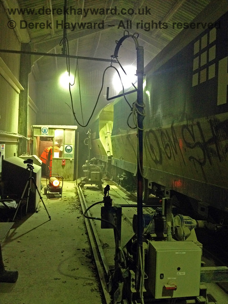 Inside the dropper shed as the train runs slowly through and discharges.  Adrian Backshall retains all rights to this image.