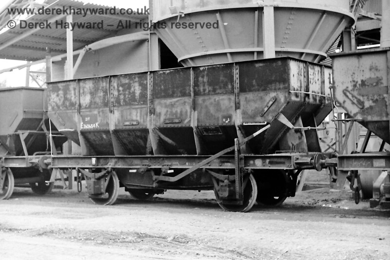 """If you had visited the Ardingly plant on 09.08.1970 the wagons would have looked different to those in use today.  Eric Kemp describes them and retains all rights to the image: """"21T, E260654K, 11-2 Built Hurst, Nelson & Co , Motherwell, 1944 Rusty grey (partly repainted at some point), instanters, unfitted.""""   Note the huge hopper behind the wagon."""