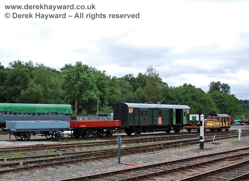 An alternative angle on the newly restored wagons. On the right the white post holds a shunting bell, warning of movements in the sidings. 15.08.2009