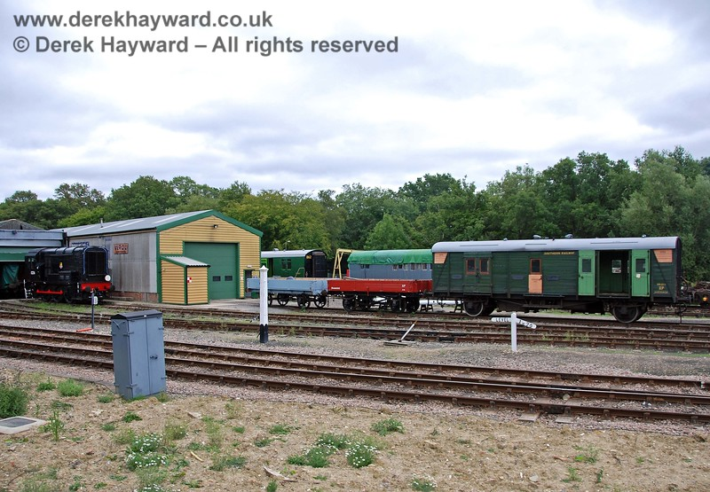 A wider shot of the Carriage and Wagon works, with two newly restored three plank wagons in the centre of the picture. 15.08.2009