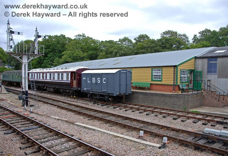 Looking across to the dock siding on the eastern side of the line at Horsted Keynes.  Beyond is the Carriage and Wagon works.  15.08.2009
