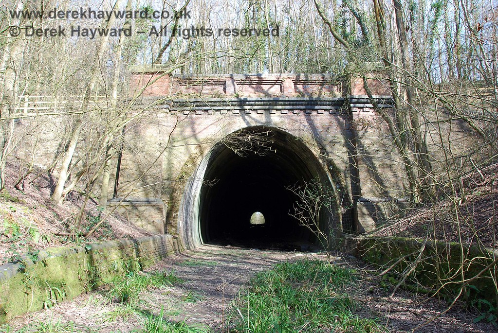 The western portal of Lywood Tunnel, looking east.  The ground here is waterlogged, although it does not show up in the picture.  The tunnel is not owned by the Bluebell Railway and is OUT OF BOUNDS.