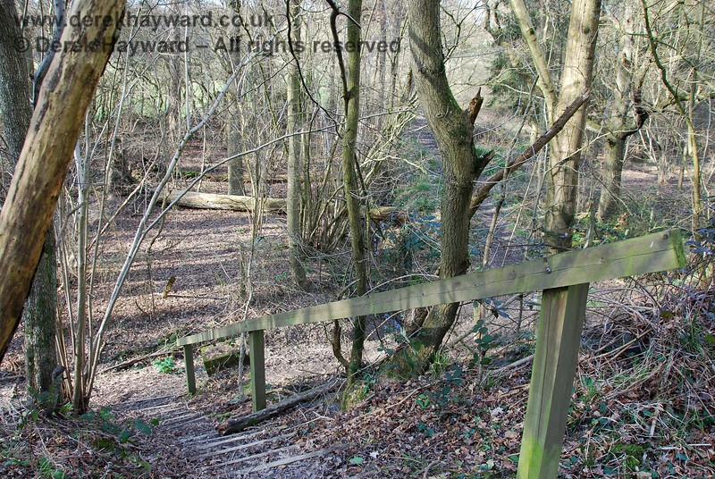 Looking down the steps from the permissive footpath on the embankment, this view shows the public footpath which runs north towards Ardingly village.