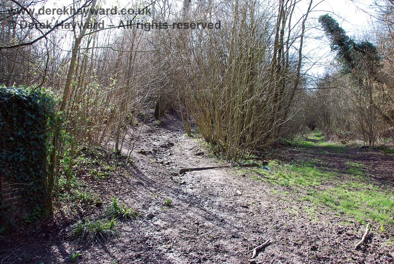 The power lines disappear up this track or gulley, which enters the trackbed from the south west.  Water (of unknown origin) cascades down this track in wet conditions, and has eroded a clear watercourse.  See next picture.