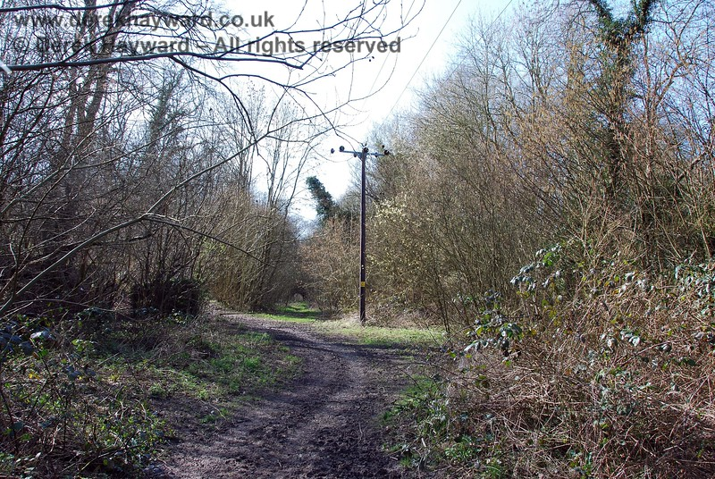 This is the point where the power lines turn south west.  An old trackside hut is on the left and Lywood Tunnel can just be seen in the distance.  At one time a distant signal stood on the right (for eastbound trains) but the signal site is now hidden by undergrowth.