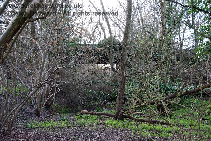 Closer still to the accommodation bridge it can be seen that the trackbed is very overgrown.