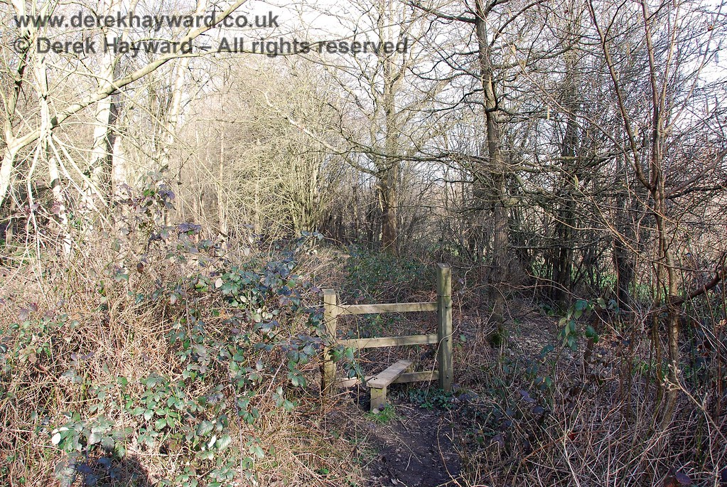 Looking east at the stile at the end of the wooded section of the permissive footpath.